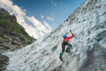Climber on a glacier