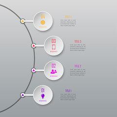 Four steps infographics. Infographic timeline template