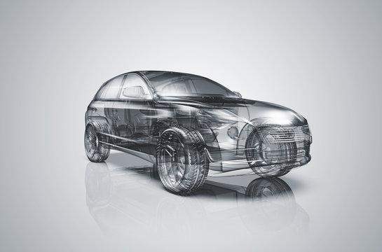 Transparentes, durchsichtiges Auto: 3D-Illustration