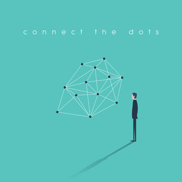 Connecting dots business concept. Problem solution finding abstract vector illustration with businessman.