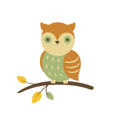 Vector Illustration of an Owl Sitting on an Autumnal Branch