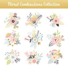 Floral combinations hand drawn vintage set