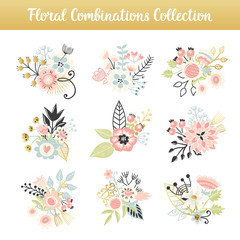 Floral combinations hand drawn vintage set