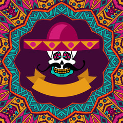 mexican shugar skull  with mustache and sombrero