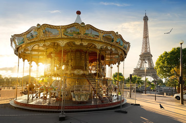 Fototapete - Carousel in Paris