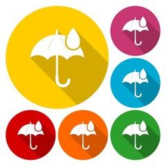 Umbrella sign icon. Water drop symbol