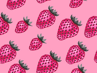 Abstract seamless pattern with strawberries in a pop art style