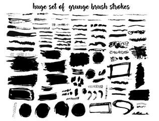 Vector big set of different grunge brush strokes.