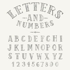 Hand drawn ornate uppercase alphabet and numbers