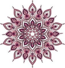 Vector decorative pink and purple  mandala illustration