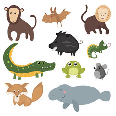 Vector set of different animals of South America.