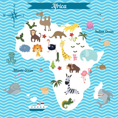 Cartoon map of Africa continent with different animals.