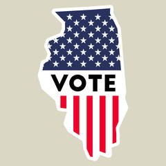 USA presidential election 2016 vote sticker. Illinois state map outline with US flag. Vote sticker vector illustration.