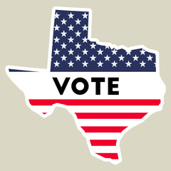 USA presidential election 2016 vote sticker. Texas state map outline with US flag. Vote sticker vector illustration.
