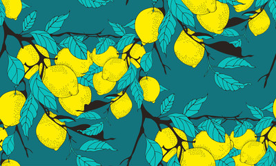 lemon tree branch seamless pattern in blue and yellow