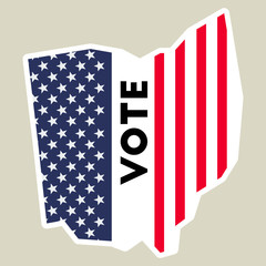 USA presidential election 2016 vote sticker. Ohio state map outline with US flag. Vote sticker vector illustration.