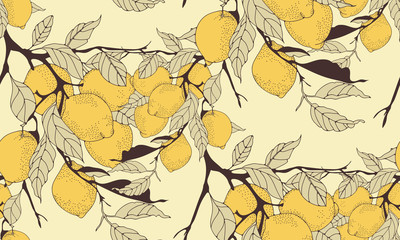lemon tree branch seamless pattern in sepia shades