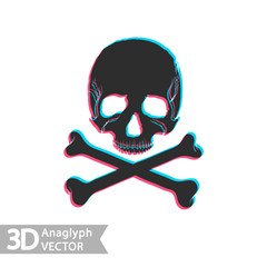 Flat icon skull and bones with stereoscopic anaglyph effect.