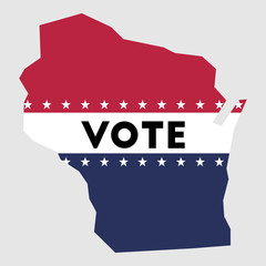 Vote Wisconsin state map outline. Patriotic design element to encourage voting in presidential election 2016. vote Wisconsin vector illustration.