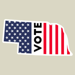 USA presidential election 2016 vote sticker. Nebraska state map outline with US flag. Vote sticker vector illustration.