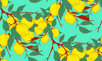 lemon tree branch seamless pattern in red and blue shades