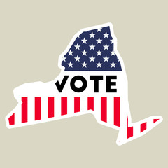 USA presidential election 2016 vote sticker. New York state map outline with US flag. Vote sticker vector illustration.