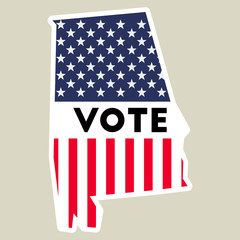 USA presidential election 2016 vote sticker. Alabama state map outline with US flag. Vote sticker vector illustration.