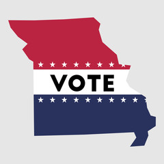 Vote Missouri state map outline. Patriotic design element to encourage voting in presidential election 2016. vote Missouri vector illustration.