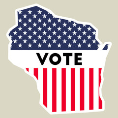 USA presidential election 2016 vote sticker. Wisconsin state map outline with US flag. Vote sticker vector illustration.