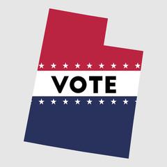 Vote Utah state map outline. Patriotic design element to encourage voting in presidential election 2016. vote Utah vector illustration.