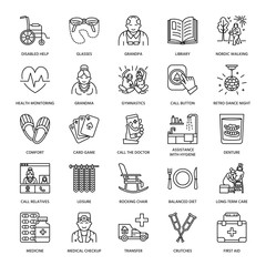 Modern vector line icon of senior and elderly care. Nursing home elements - old people, wheelchair, leisure, hospital call button, medicines. Linear pictograms with editable stroke for sites, brochure