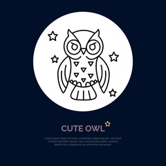 Cute owl illustration. Modern vector line icon of night bird. Funny owl linear logo. Outline symbol for sleep problem, chronotype. Design element for site, brochures, books. Owl coloring.