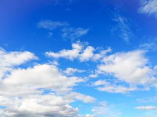 White clounds and blue sky.