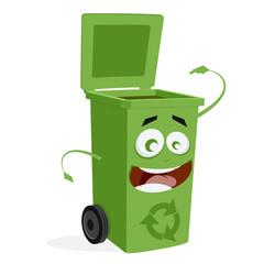 happy trashcan waiting for trash