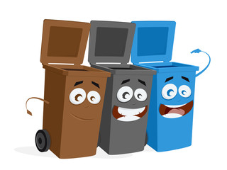 funny group of trashcans waiting for trash
