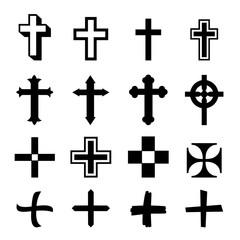 Vector black crosses icon set on white background