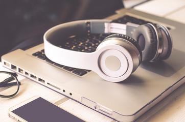 Headphone and laptop (vintage tone)
