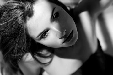 Beautiful woman black and white image