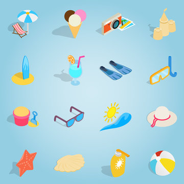 Isometric beach set icons. Universal beach icons to use for web and mobile UI, set of basic beach elements vector illustration