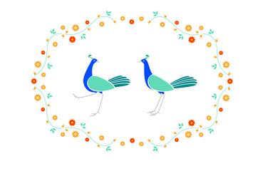 鳥 花のフレーム