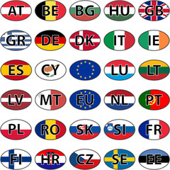 Oval sticker flag of the European Union countries