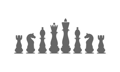 Icons chess pieces. The king, queen, bishop, rook, knight, pawn.