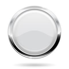 Web button. Round white icon with chrome frame