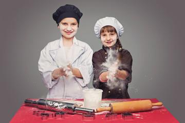 Children making christmas gingerbread
