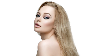 Beautiful girl with blond long hair and makeup