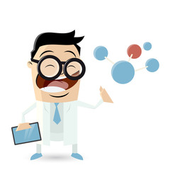 funny cartoon scientist with molecule and tablet