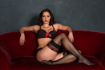 Brunette in red and black