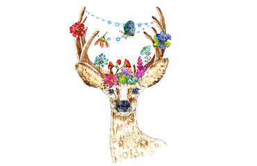 Illustration of roe deer with flowers