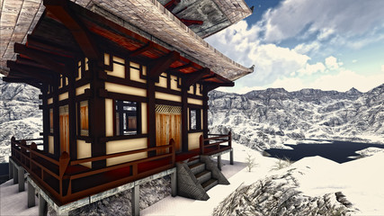 Buddhist Temple in rocky mountains 3d rendering