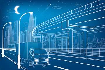 Automotive flyover, truck travels, architectural, infrastructure and transportation illustration, transport overpass, highway, white lines urban scene, night city on background, vector design art